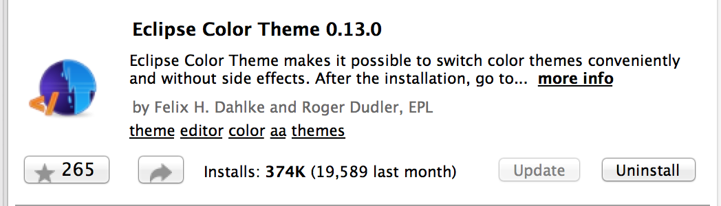 Install Eclipse Color Theme under the Eclipse Marketplace.