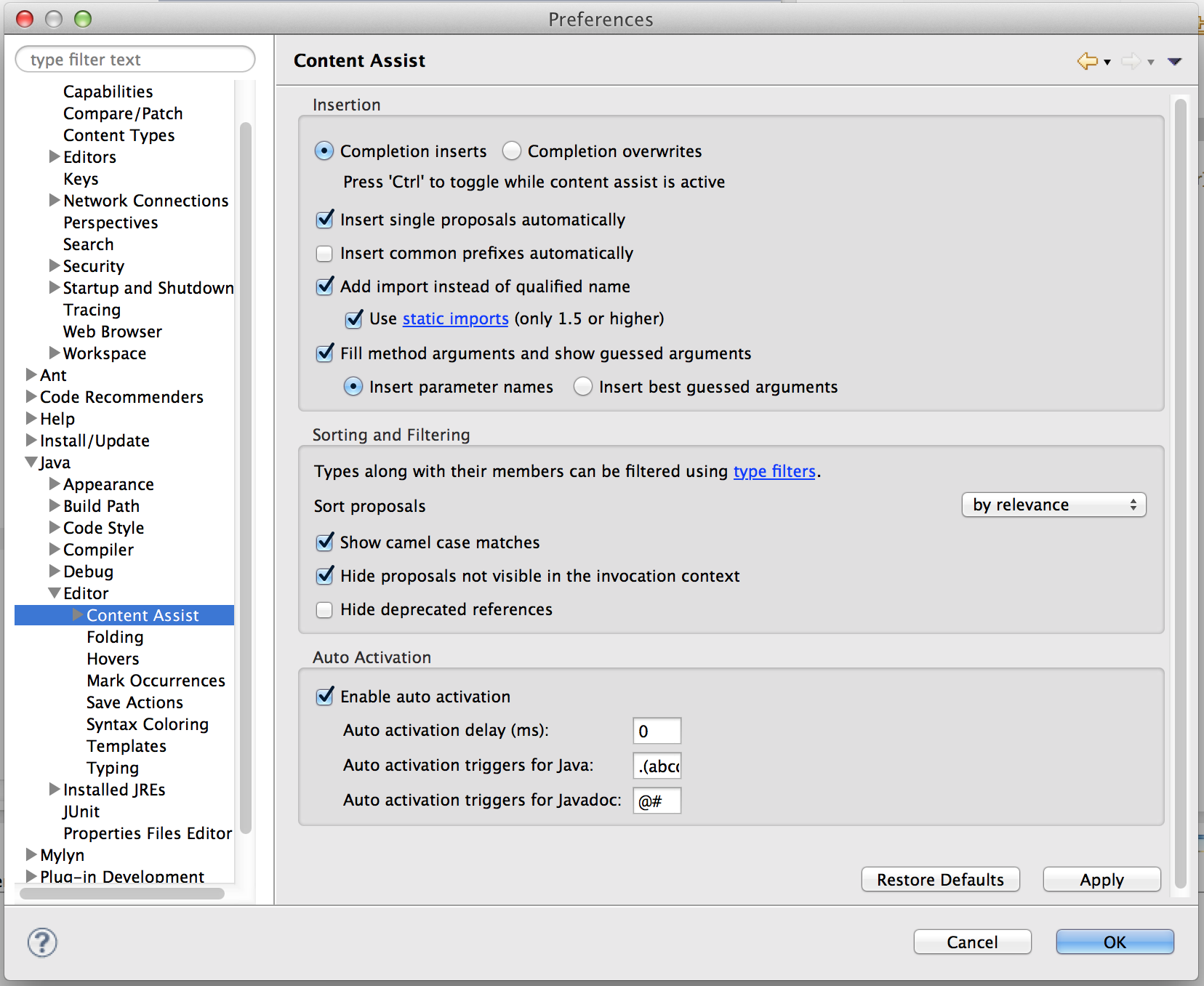 "Navigate to Java -> Editor -> Content Assist, and change the values under ""Auto Activation""."