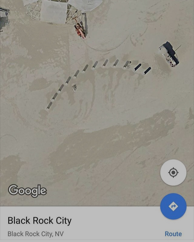 Google satellite photo of the twelve pillars arranged in an arch at Burning Man 2013