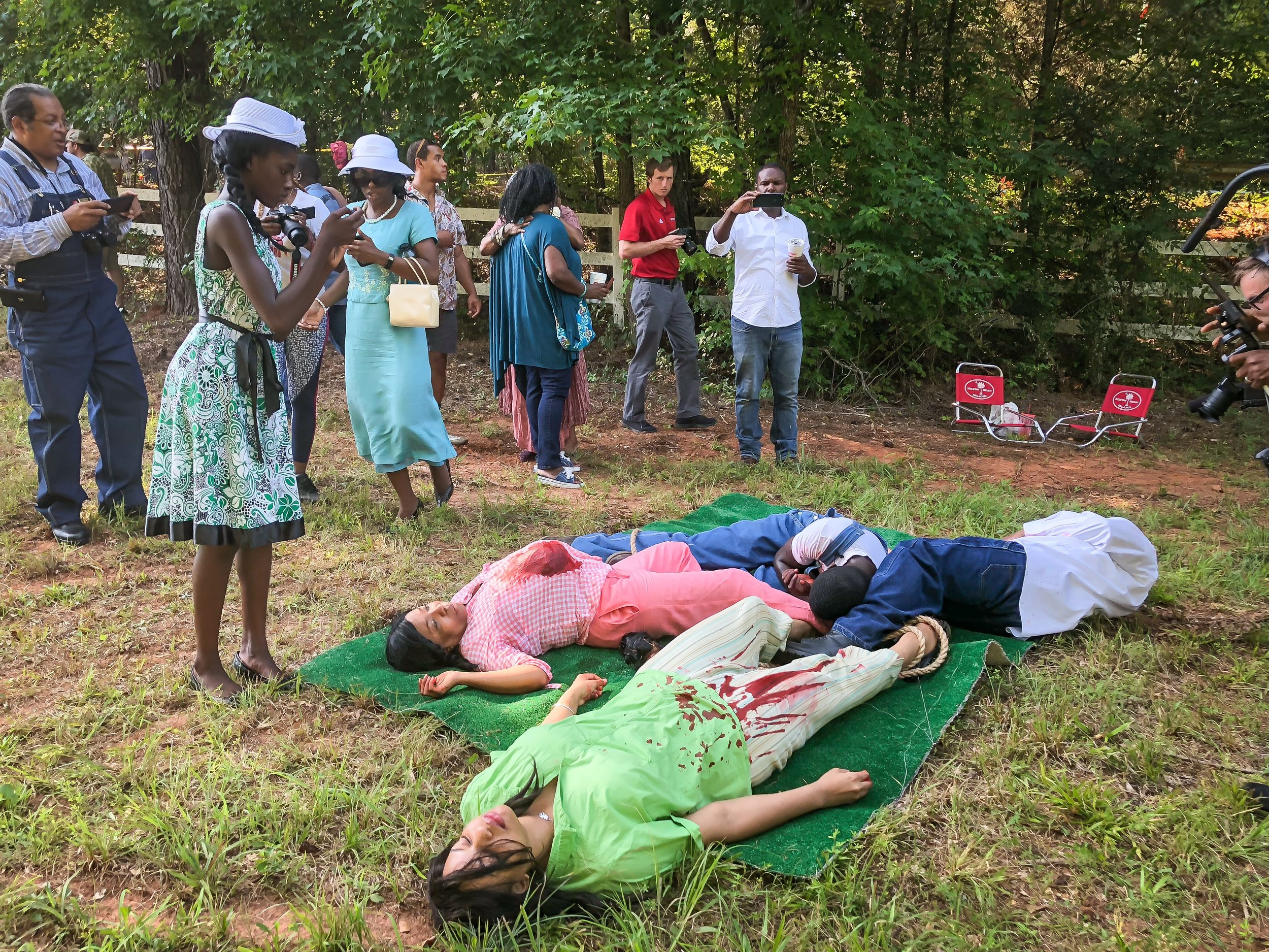 Actors depict the lynching of victims Roger Malcom and his wife Dorothy Dorsey Malcom, and US Army veteran George Dorsey and his wife Mae Murray Dorsey. The moment represents the final scene in the day-long series of events.