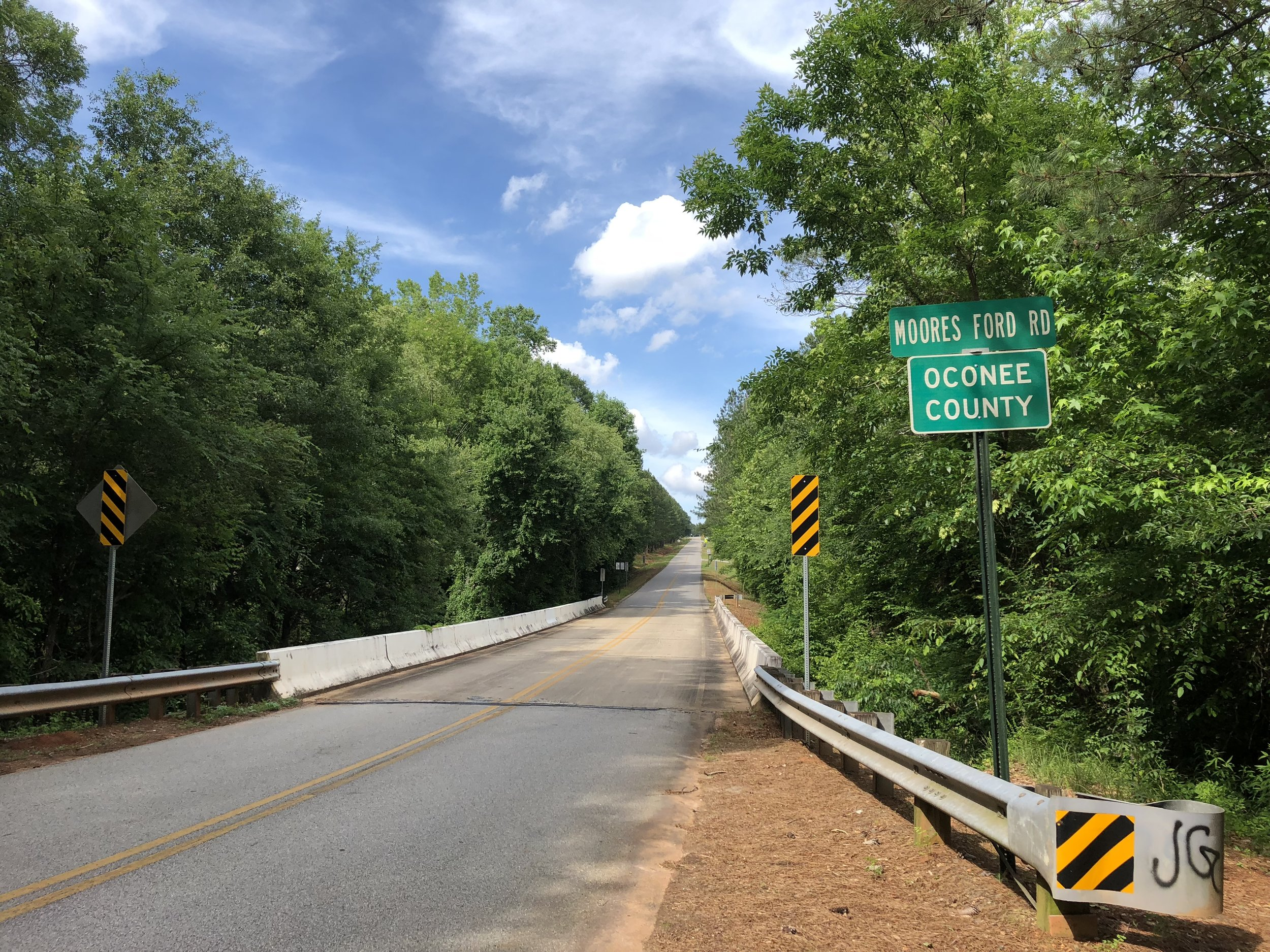 Moore's Ford Bridge, the location of the last mass lynching in the United States. Victims were taken from the car of Loy Harrison before crossing this bridge. They where brutally shot and killed beside this bridge by a lynch mob.