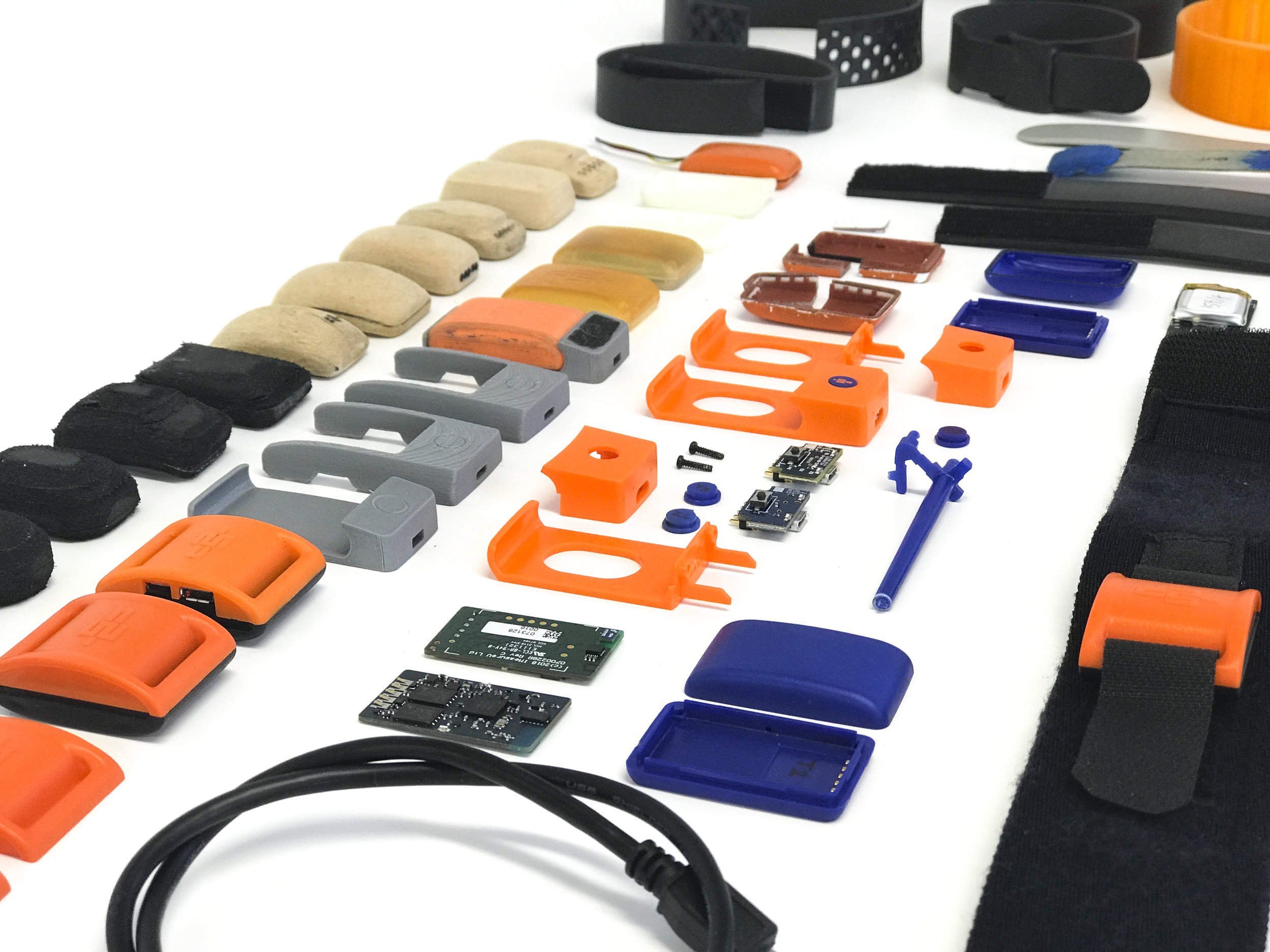 An assortment of prototypes and ideas tested in the development of the device