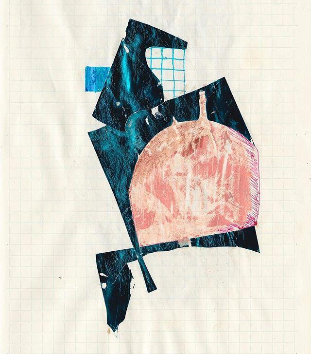 Sketchbook scan • • • • • • • #jadeabner #sketchbook #weaving #digitalcollage #collage #drawing #blue #austinartist #atxartist #atxlife #digitalart #metalic #atxlife #sketch #inspirationoftheday #contemporarypainting #foil