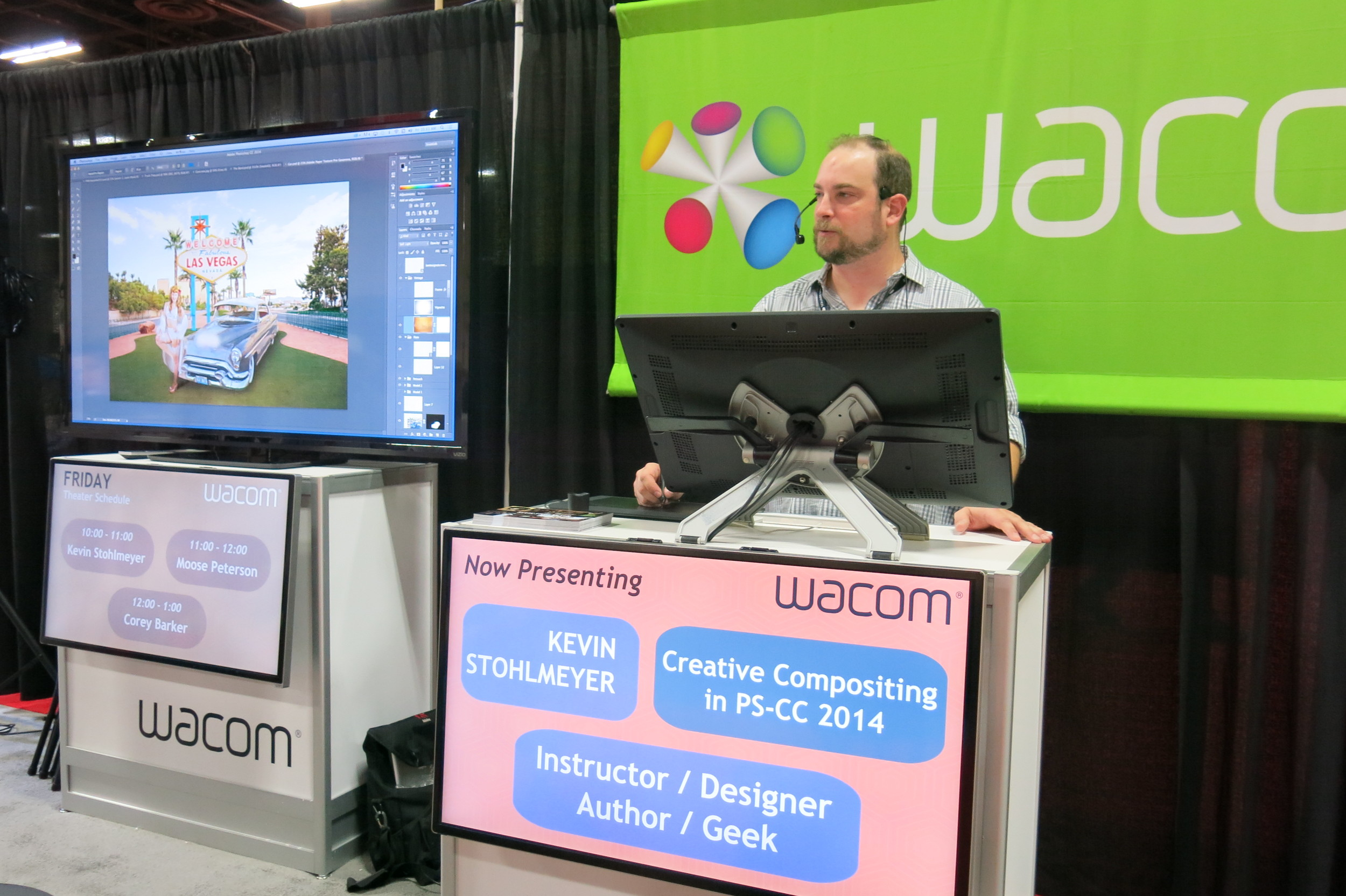 Kevin Stohlmeyer demos his PSW composite at the Wacom booth.