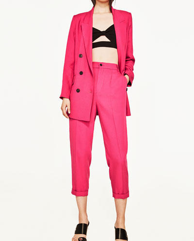 Hot Pink Pants   When I was shopping with a client last week we came across these trousers in Zara and she commented that they were so me -which was very true!Sometimes I can't help including some of my personal preferences in a pre-shop. The client wasn't comfortable in them as she felt it highlighted her tiny (I couldnt see it) tummy. I plan on styling them with a denim jacket, white tee and white converse.  Click here  for link.