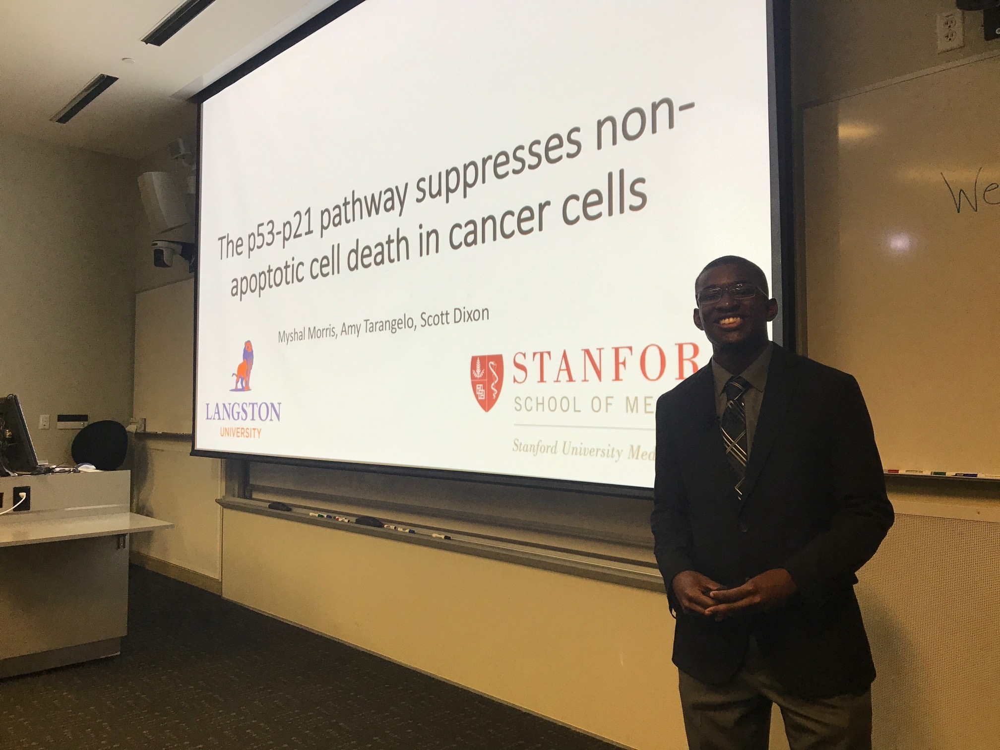 SSRP summer student Myshal Morris gives his final talk - Stanford campus, 23 Aug 17