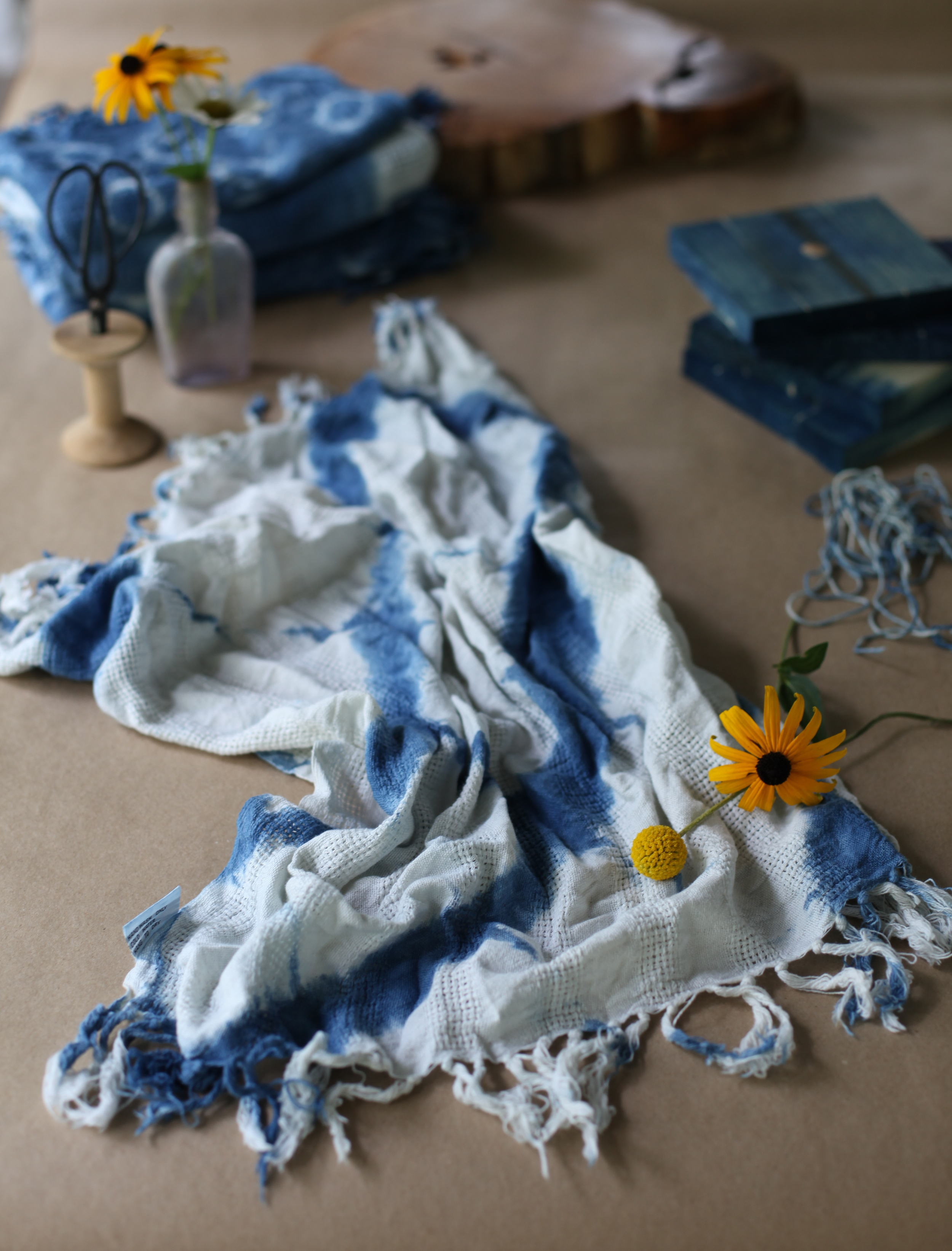 inks+thread shibori dyed indigo scarf