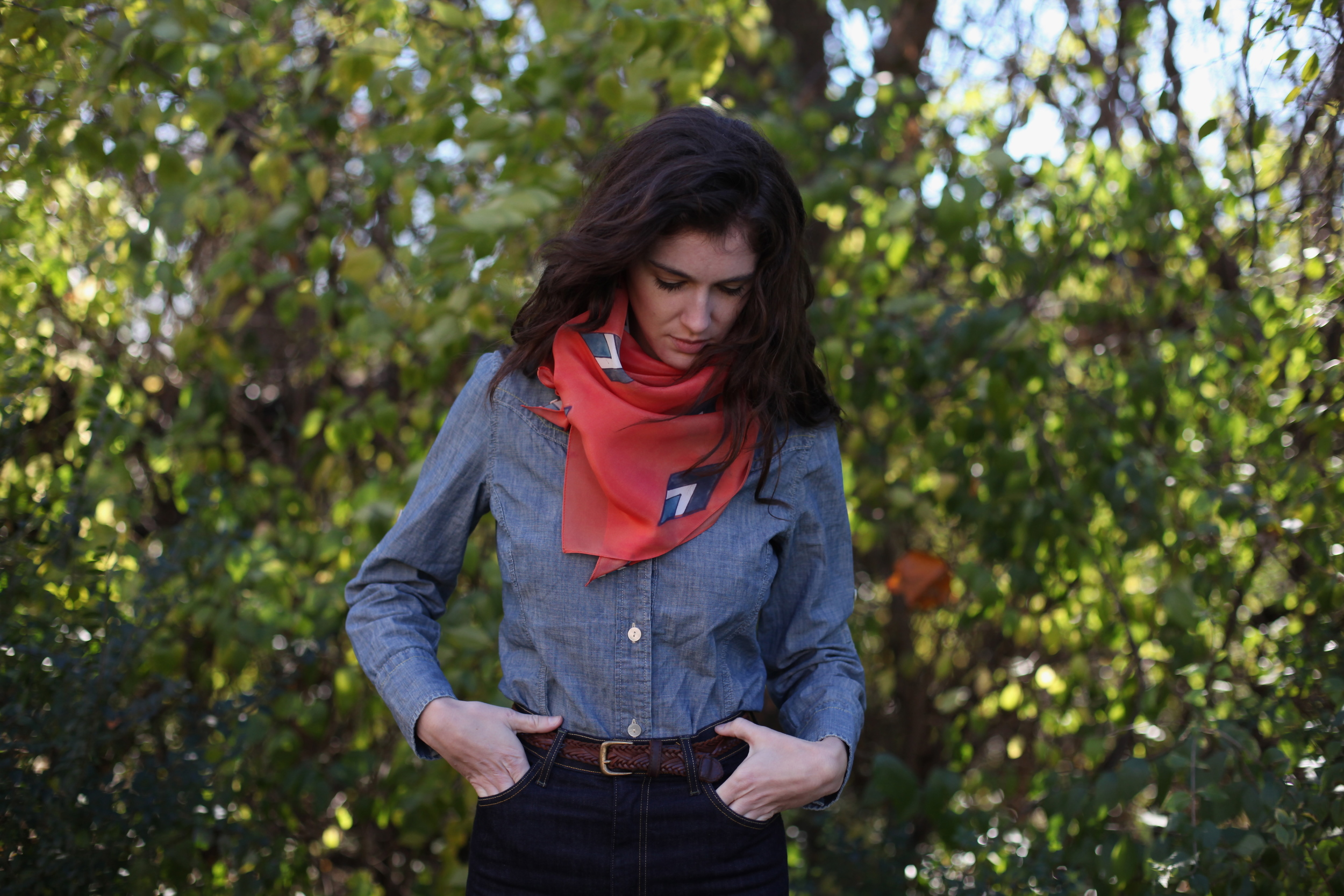 Coral Luca Scarf by inks+thread