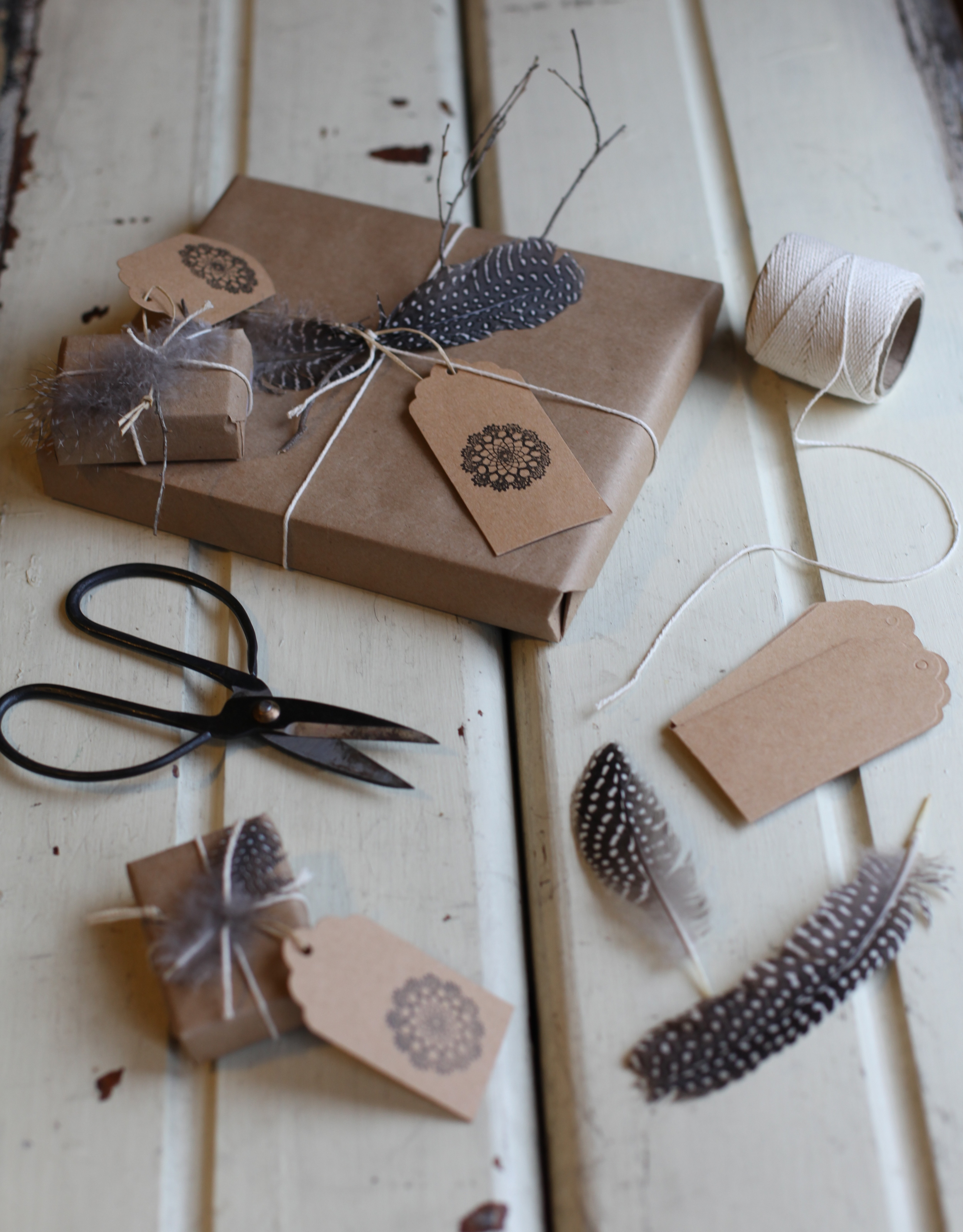 feather + twigs wrapped gifts by Maggie Pate