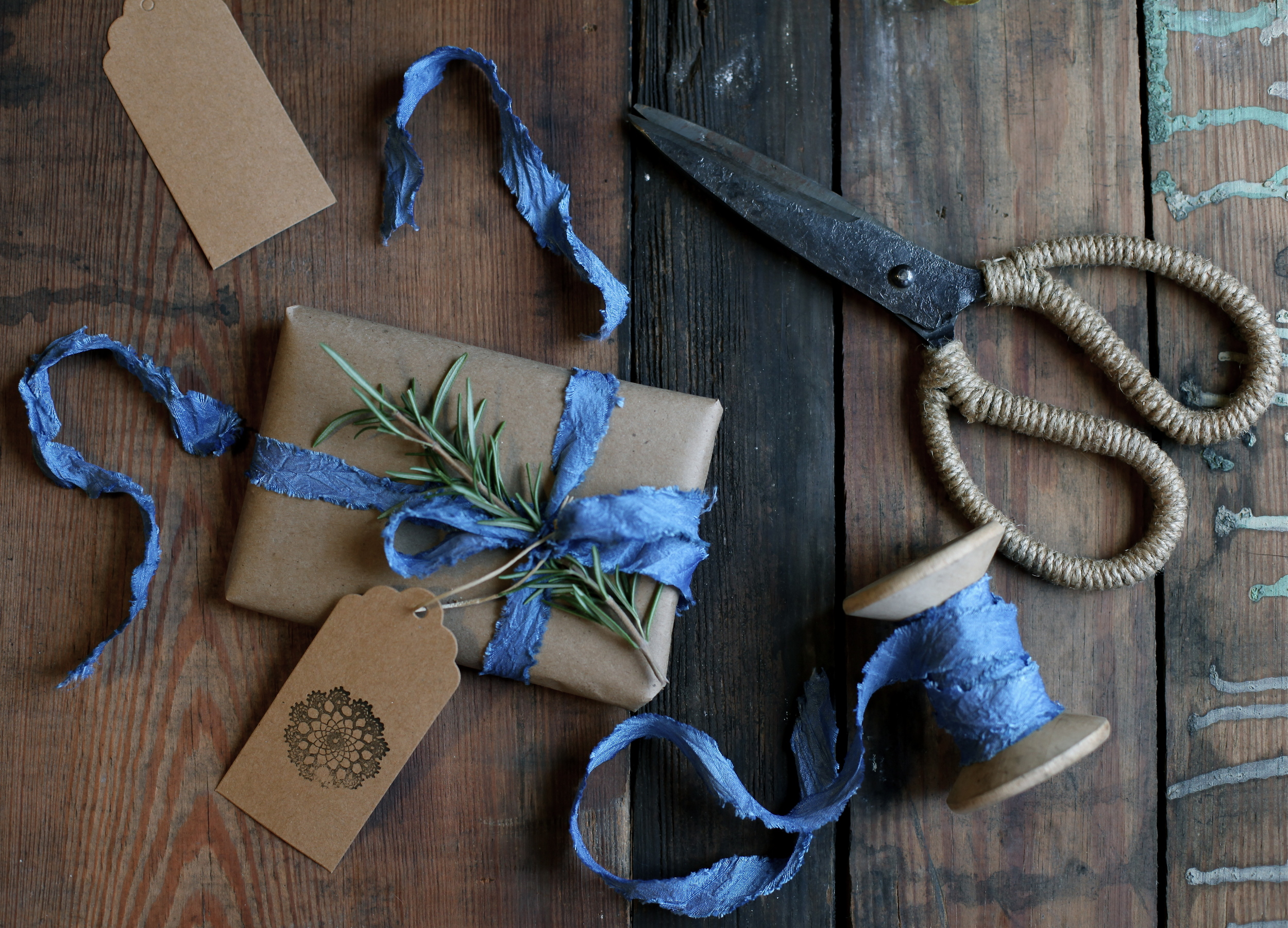 indigo dyed silk ribbon by Maggie Pate
