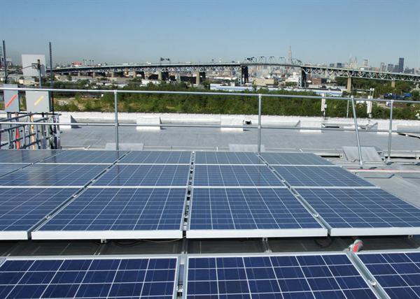 Solar panels on Davis & Warshow roof