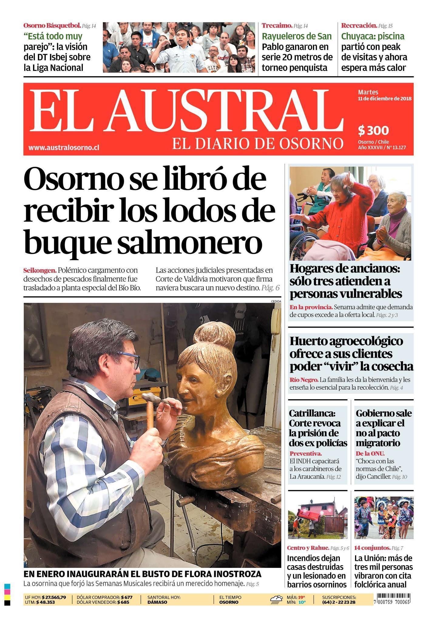Portada Diario Austral de Osorno 11/12/2018