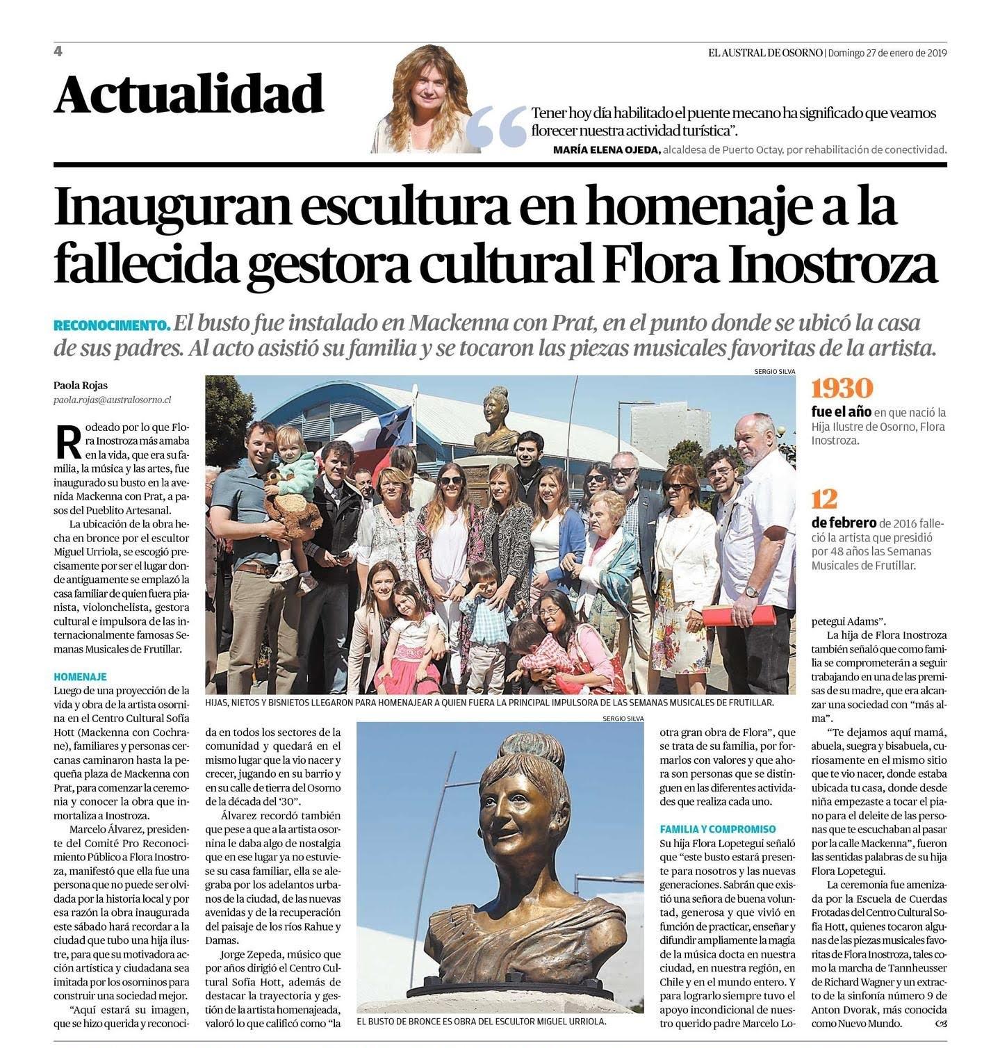 Busto Flora Inostroza - Obra realizada en bronce realizado por Miguel Urriola