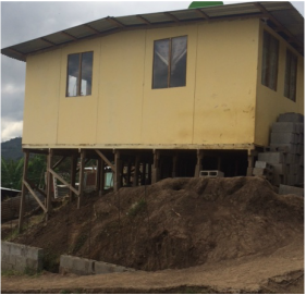 A house on stiltswould likely collapse in a strong earthquake.