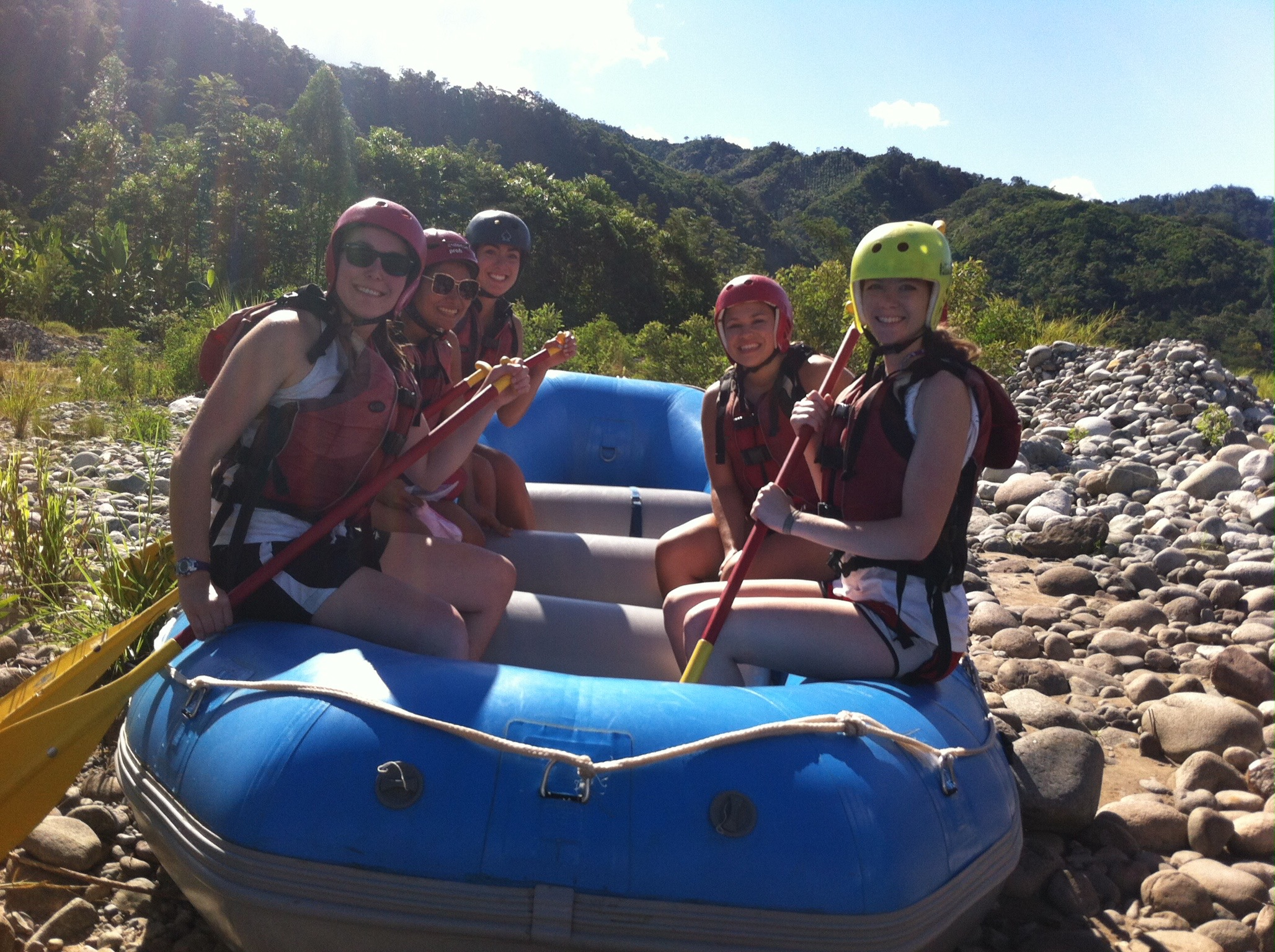 Rafting during a weekend excursion! Don't worry, they made it to the river :)