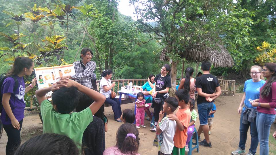Volunteers in charge of health education. The kids were so into it!