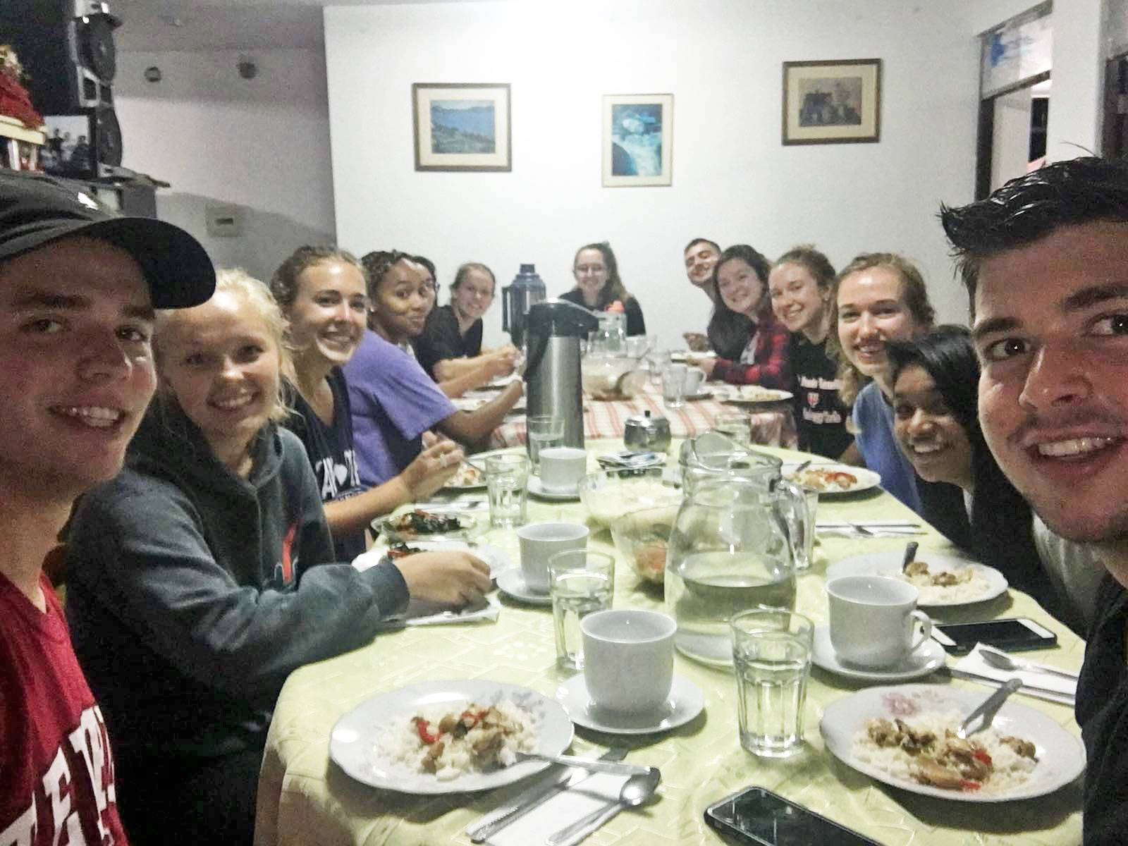 SIHFers who serve together, eat together... La Merced, Peru