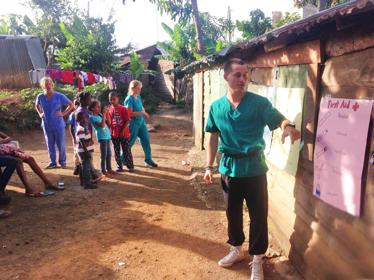 Community health education and first aid training in the Dominican Republic.