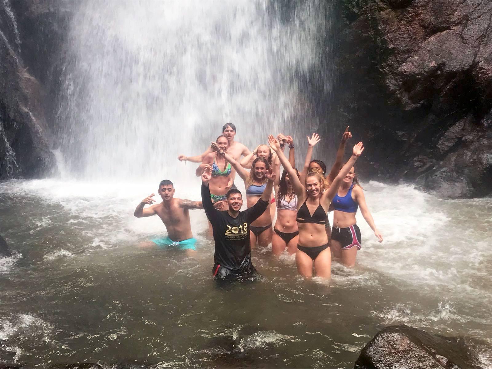 SIHFers in La Merced, Peru exploring waterfalls and natural swimming pools