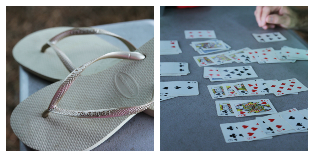These are my new flip flops I got this summer and I took pictures while Dad played cards.