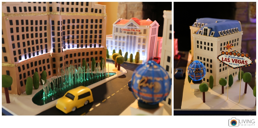 This whole thing is edible. The cars and fountain are sugar. The only things that were not edible were the little lights below the fountain and the Eiffel Tower.