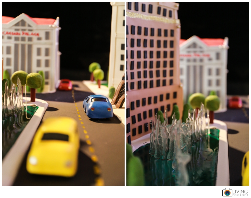 Candy cars and fountains.