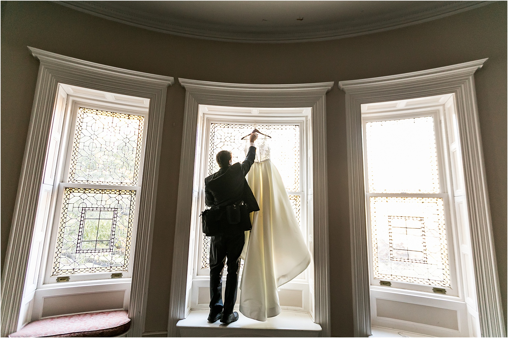 The day starts with details. We can't even tell you how many doors, windows, dressers, fireplaces, mantels, staircases, or any other object we've hung a dress on. But it's always beautiful!