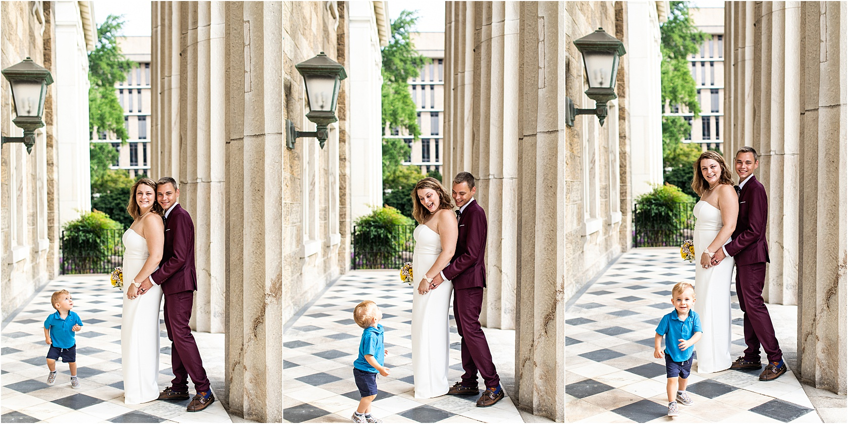 Oh, that time we brought our kid to the elopement. Why, because it was spontaneous and last minute and we said yes if we could bring Zeke. He photobombed.