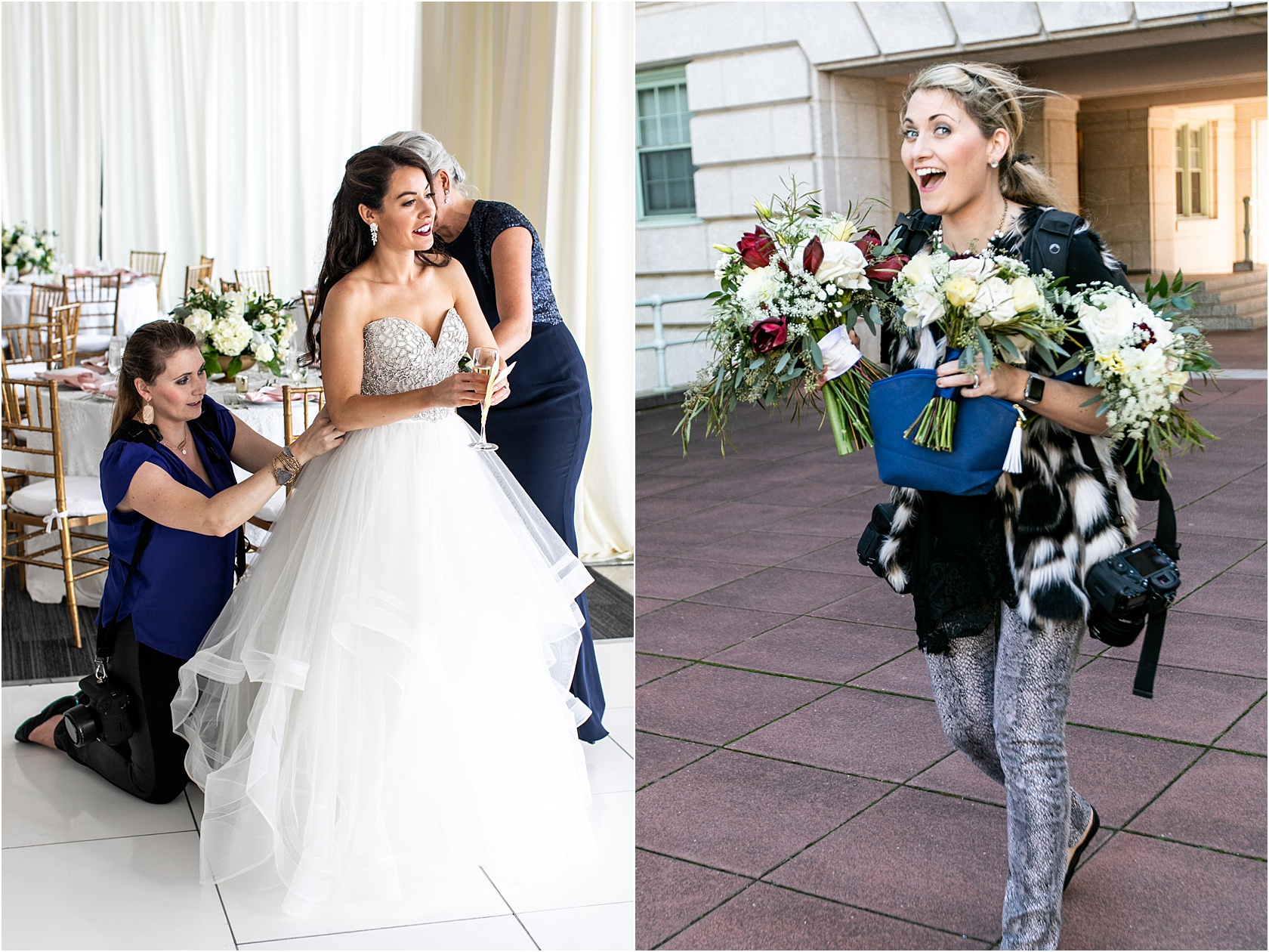 Oh, I'm not just a wedding photographer. I'll gladly bustle your train, fix your hair, help with makeup and carry florals. That's why they pay me the big bucks… (those things are not in contract lol)