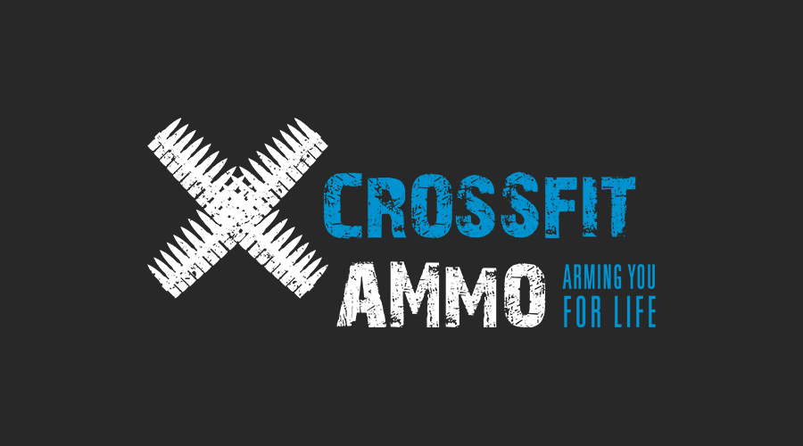 The fitness regimen Crossfit has changed the lives of many, including Erin and Santee Hathaway, owners of   Crossfit Ammo   in Dallas, TX. In starting their business, they wanted a brand that spoke to the intensity, strength and power of Crossfit. The X-shaped bandolier and gritty font gives a sense of toughness, while the pop of cyan adds some spunk and life. Just the right mix.