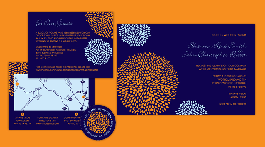 BOLD BLOSSOMS  :: Invitations + Round Labels