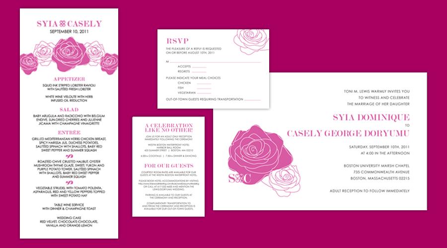 FUSCHIA ROSE  :: Invitations + Reception Menus