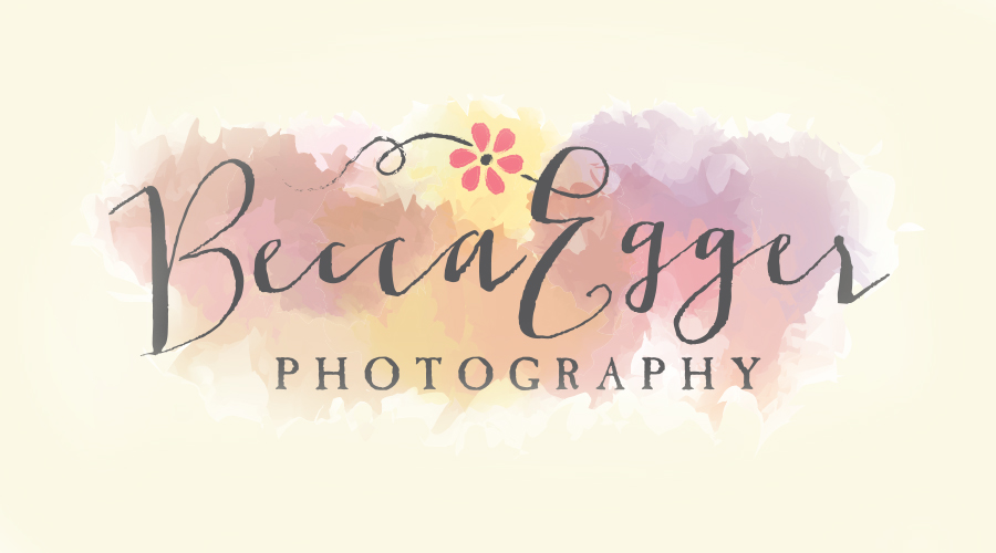 """Becca, of newly revamped  Becca Egger Photography  , decided she needed a new identity based on her more specified target audience of high school girls. She wanted a new logo that was very fun, inviting, soft and kind of frilly...but not frightening to non-high-school-girl types. The combination of a swirly font, watercoloring and a little flower says, """"Come take your pretty pics with me!"""""""