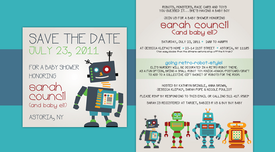RETRO ROBOTS  :: Baby Shower Save the Date + Invitation