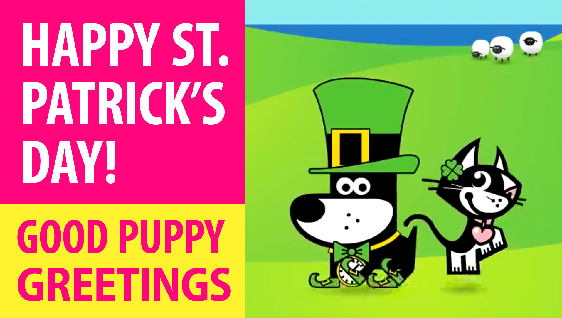 Happy St. Patrick's Day! Animated Greeting Cards - Free E-Cards By GOOD PUPPY