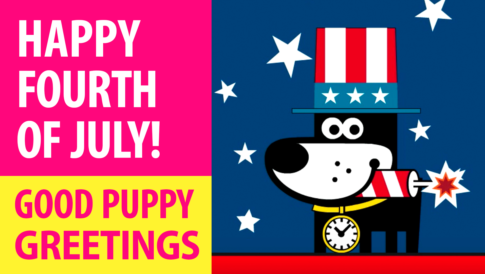 Happy Fourth Of July! Animated Greeting Cards - Free E-Cards By GOOD PUPPY