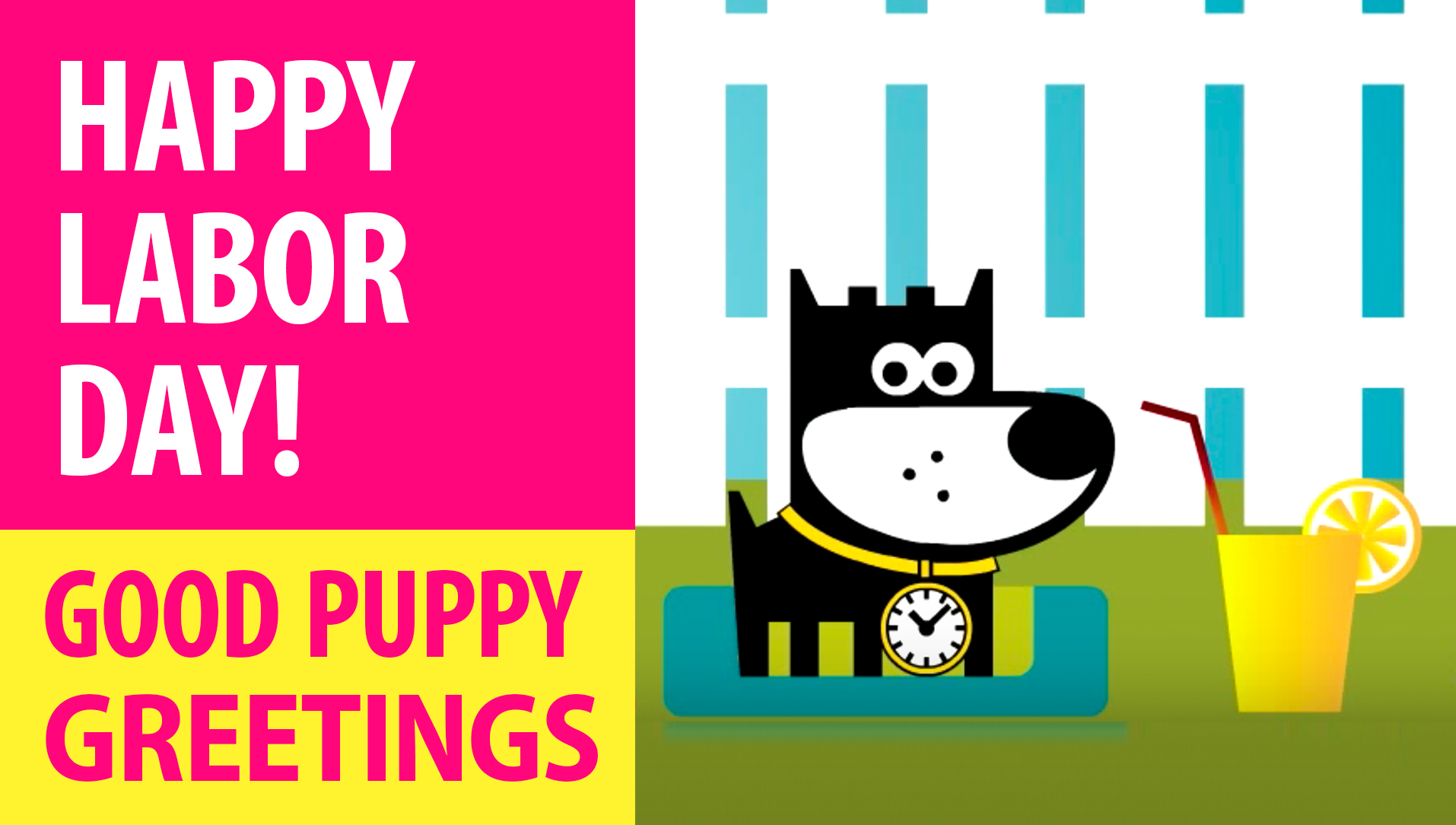 Happy Labor Day! Animated Greeting Cards - Free E-Cards By GOOD PUPPY