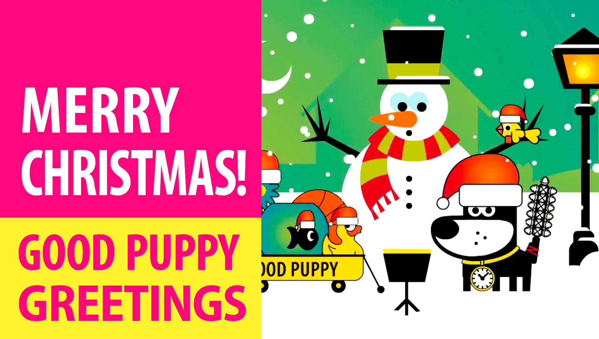 Merry Christmas! Animated Greeting Cards - Free E-Cards By GOOD PUPPY