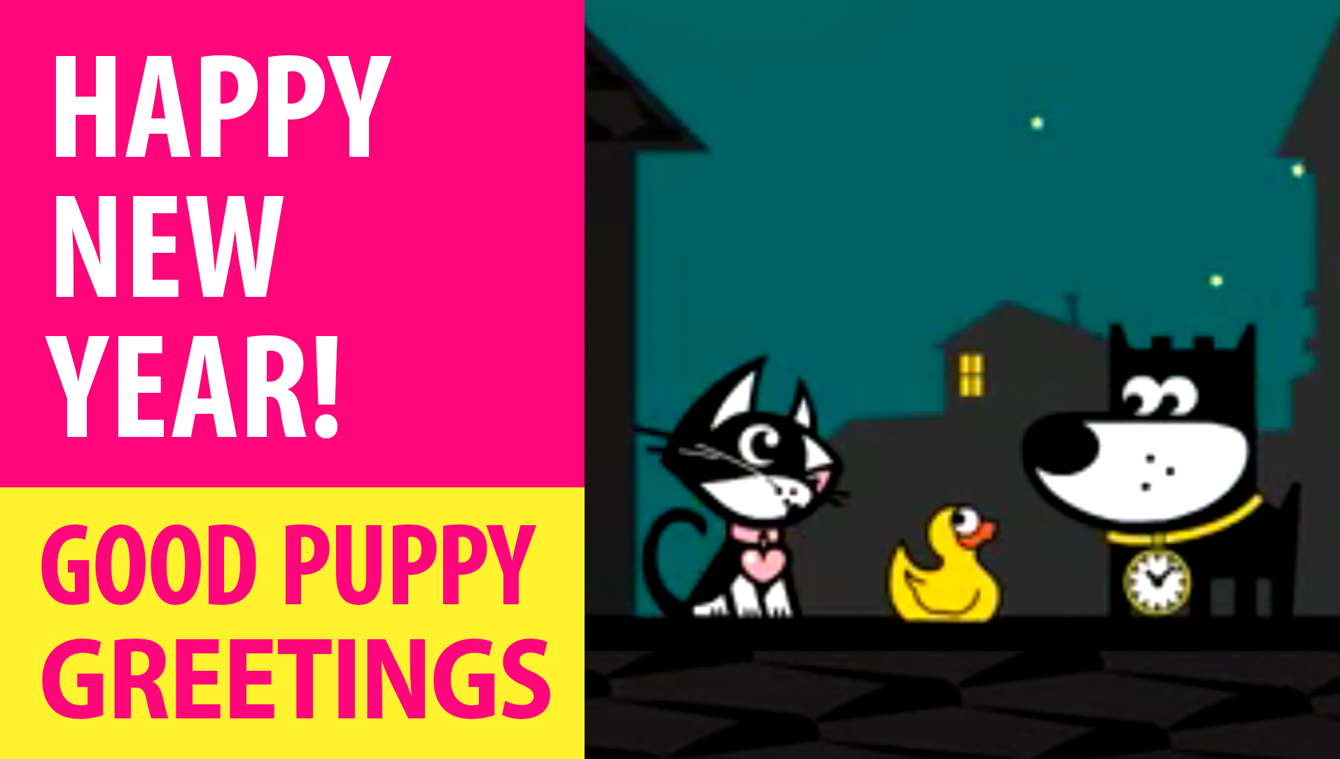 Happy New Year! Animated Greeting Cards - Free E-Cards By GOOD PUPPY