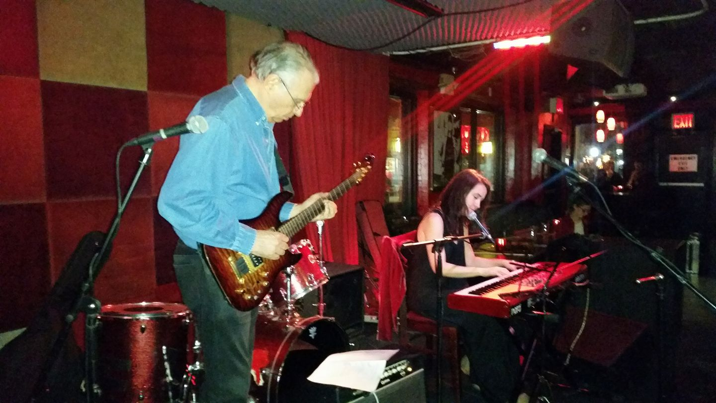 Roger and I playing at Red Lion for Deja Blue's Women In Rock event, 3/8/17   - all thanks to Val Kinzler