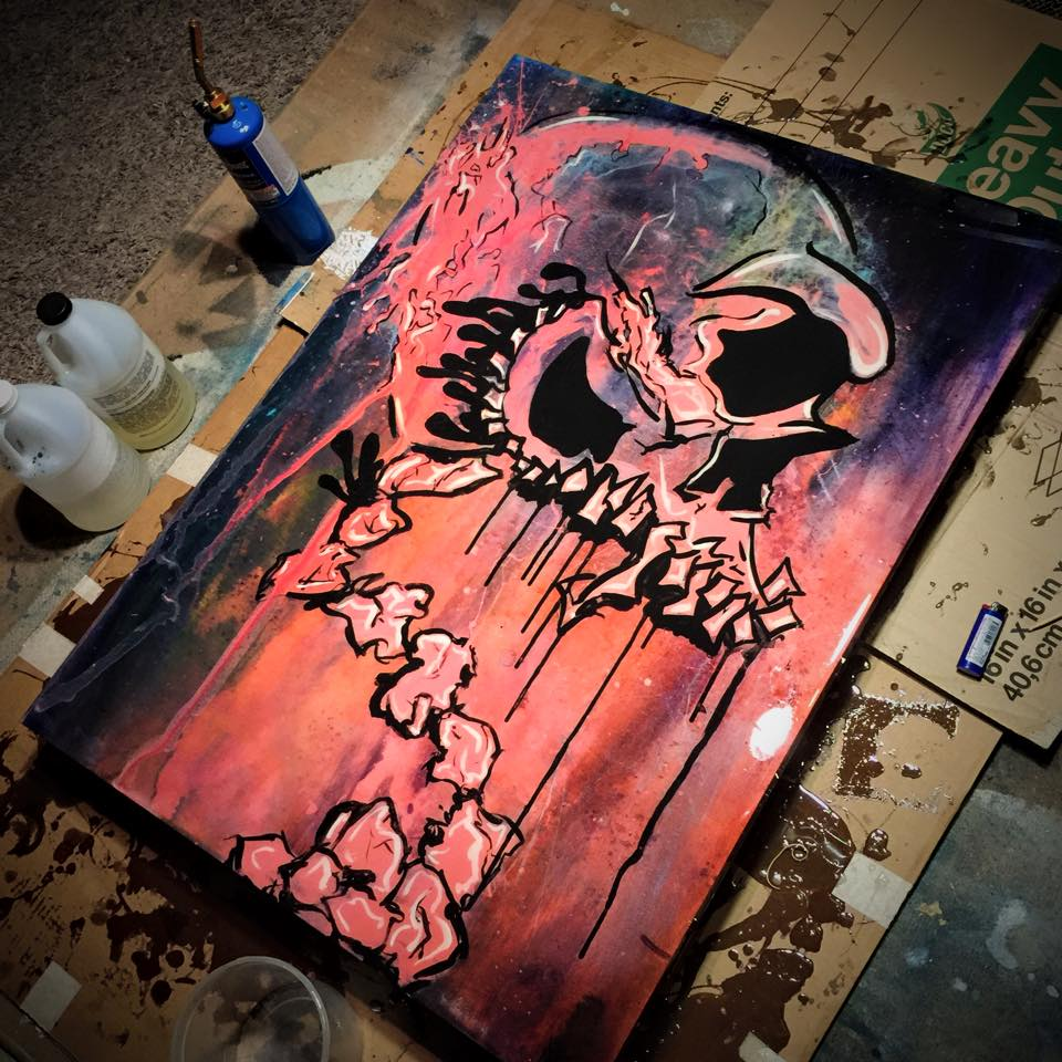 """Pink Skull"" Canvas Print (Epoxy Resin Coated) 30x40"" $310"