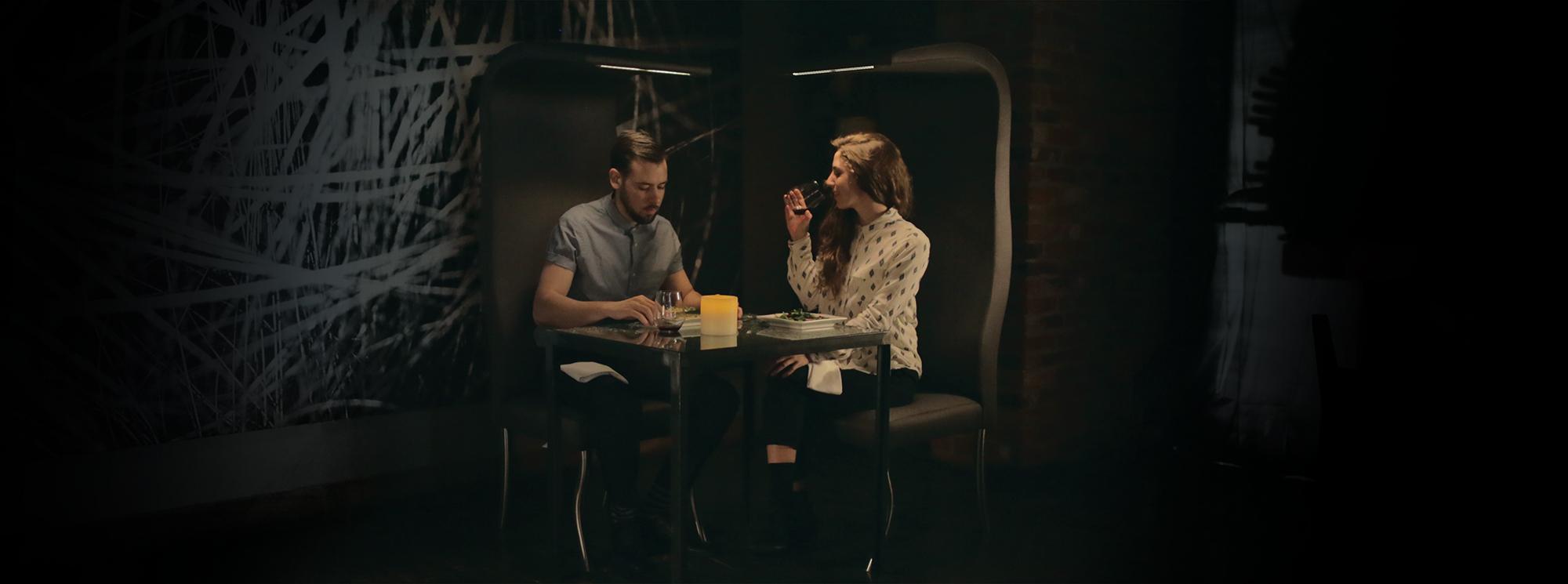 Photography By: Peter Schnobb + Models: Jakob Van Regan & Maria Beamish + Location: Origin Restaurant, Toronto