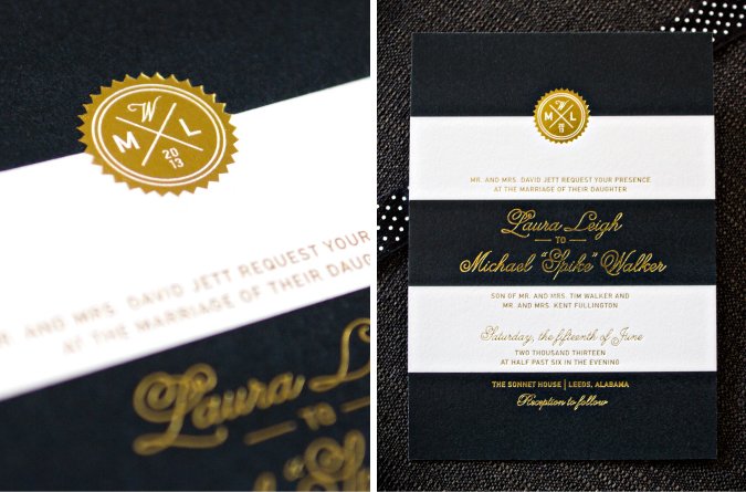 stacey day - custom design - gold foil letterpress