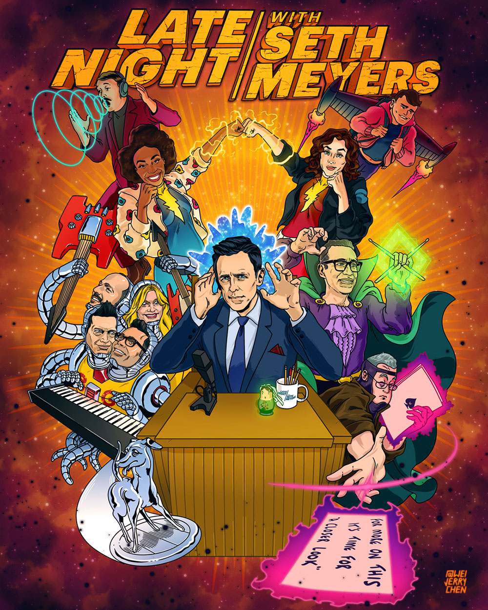 #NationalSuperheroDay Poster for Late Night with Seth Meyers