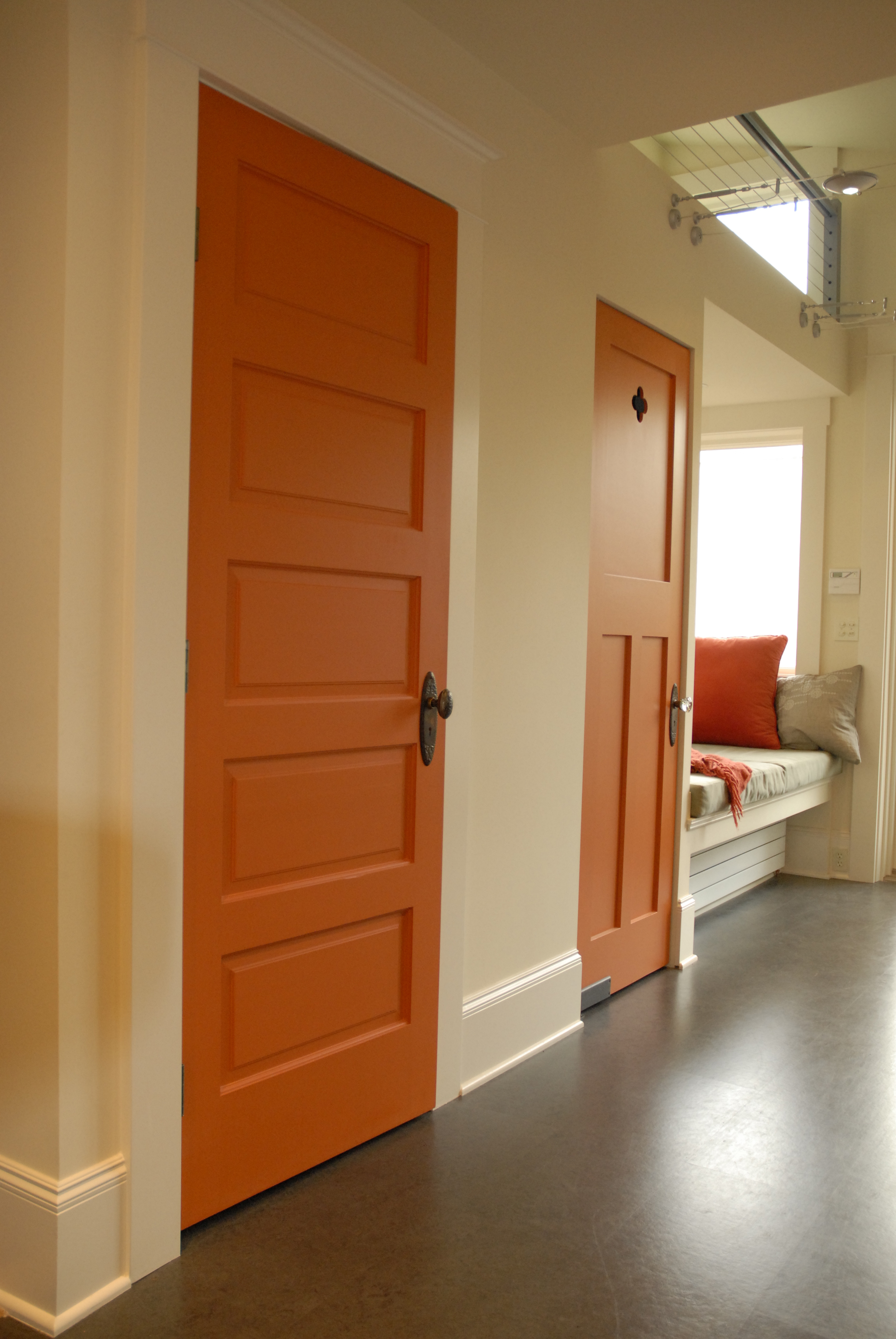 Doors are re-purposed from an old convent