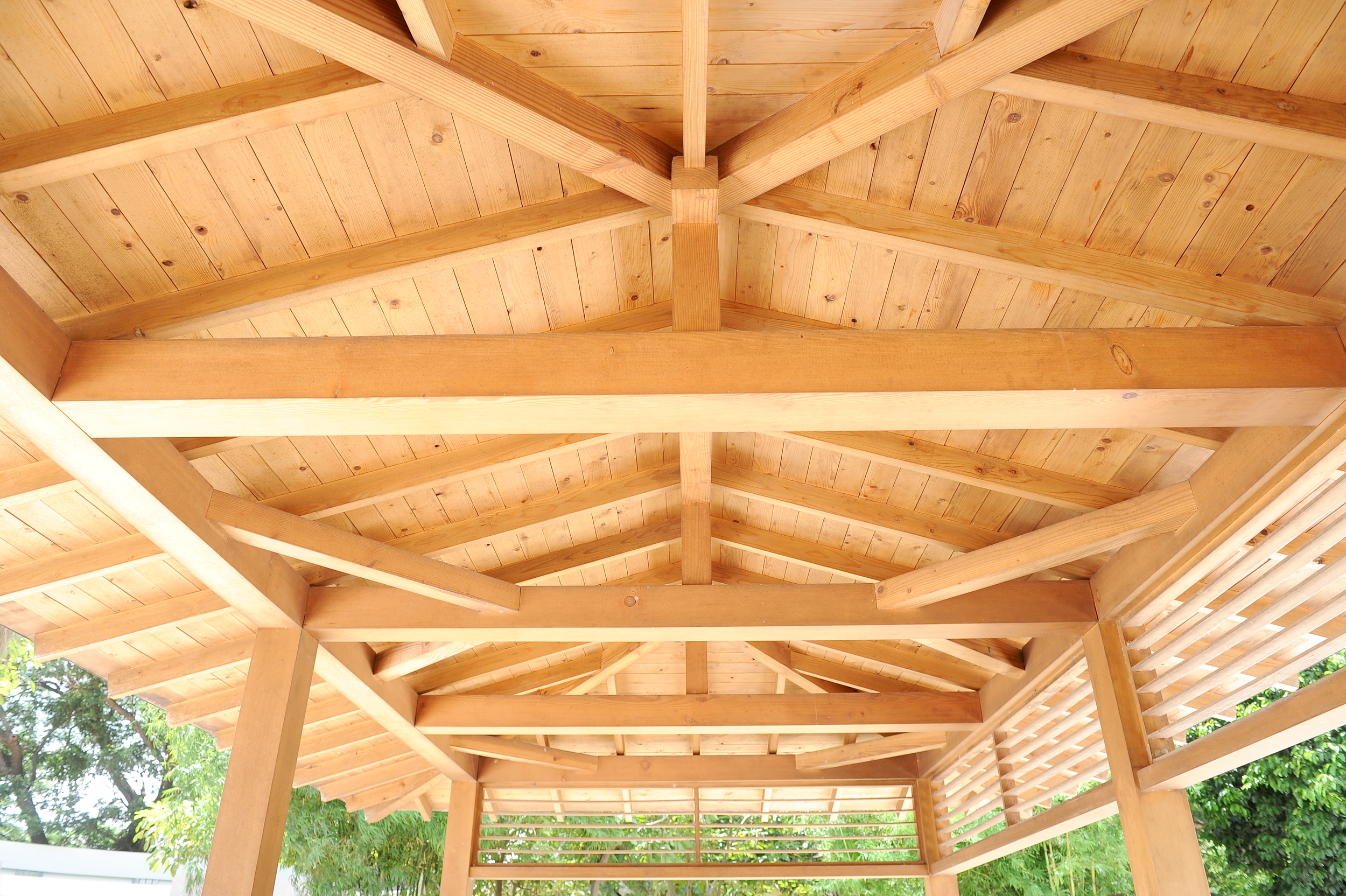 exposed timber frame outdoor living space