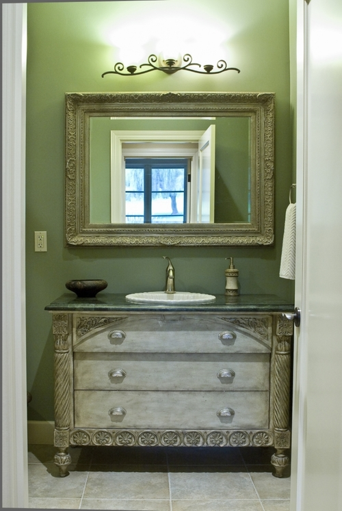 The verde marble top was a remnant.  The end result is true beauty on a budget.
