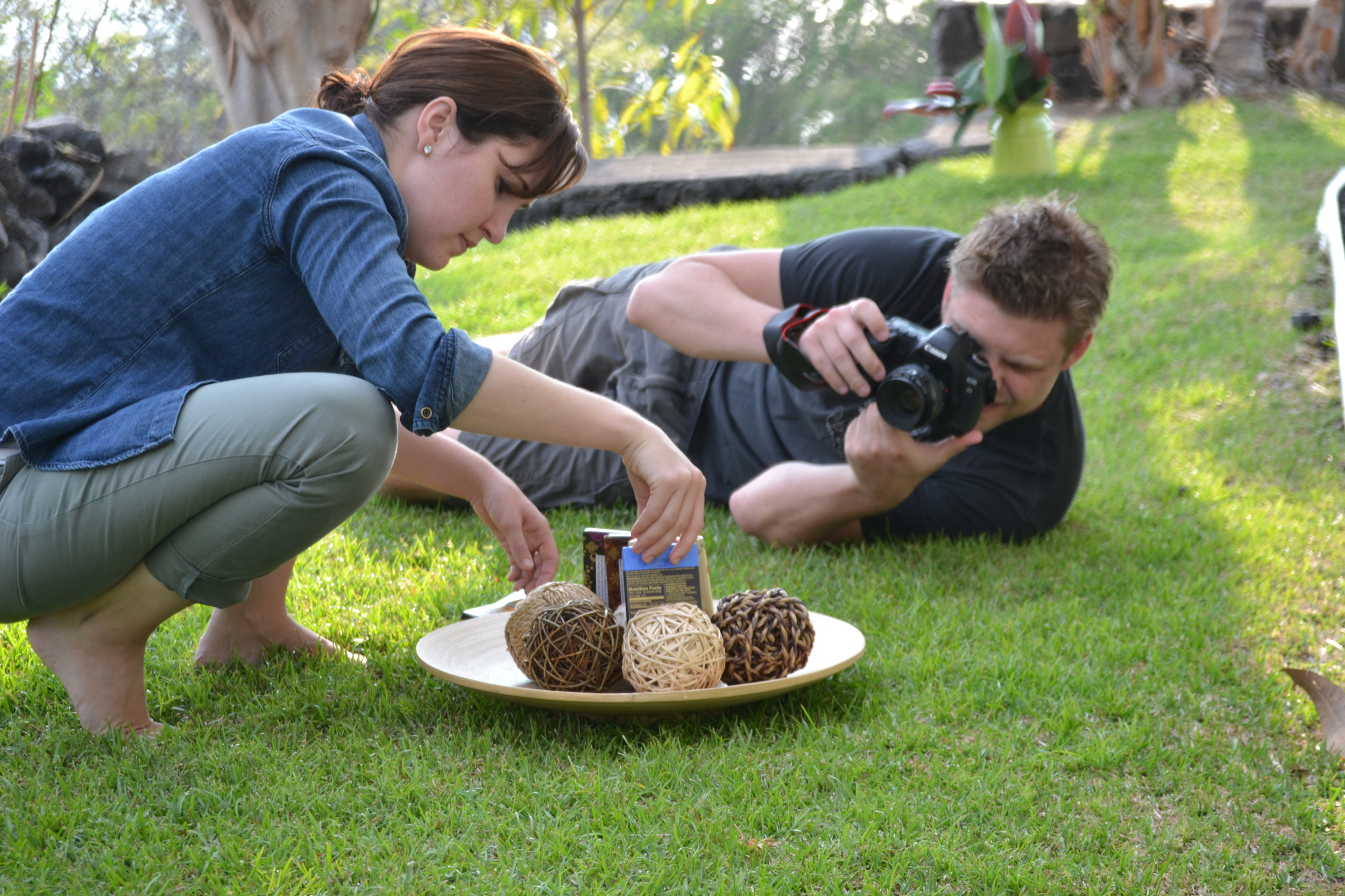 Editor-in-Chief, Fay Johnson, and photographer Brandon Dube, working on product stills for the chocolate article. Kona, Hawaii.
