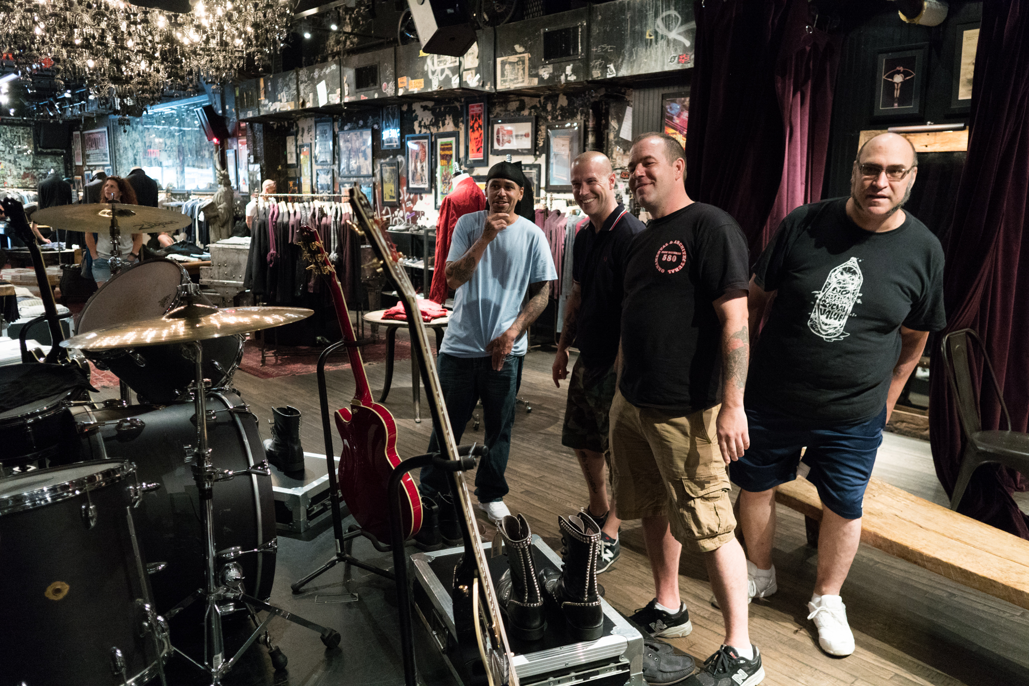 Left to Right: Cesar Ramirez, Kent Miller, Lenny Bednarz, Alan at John Varvatos, the former location of CBGB's.