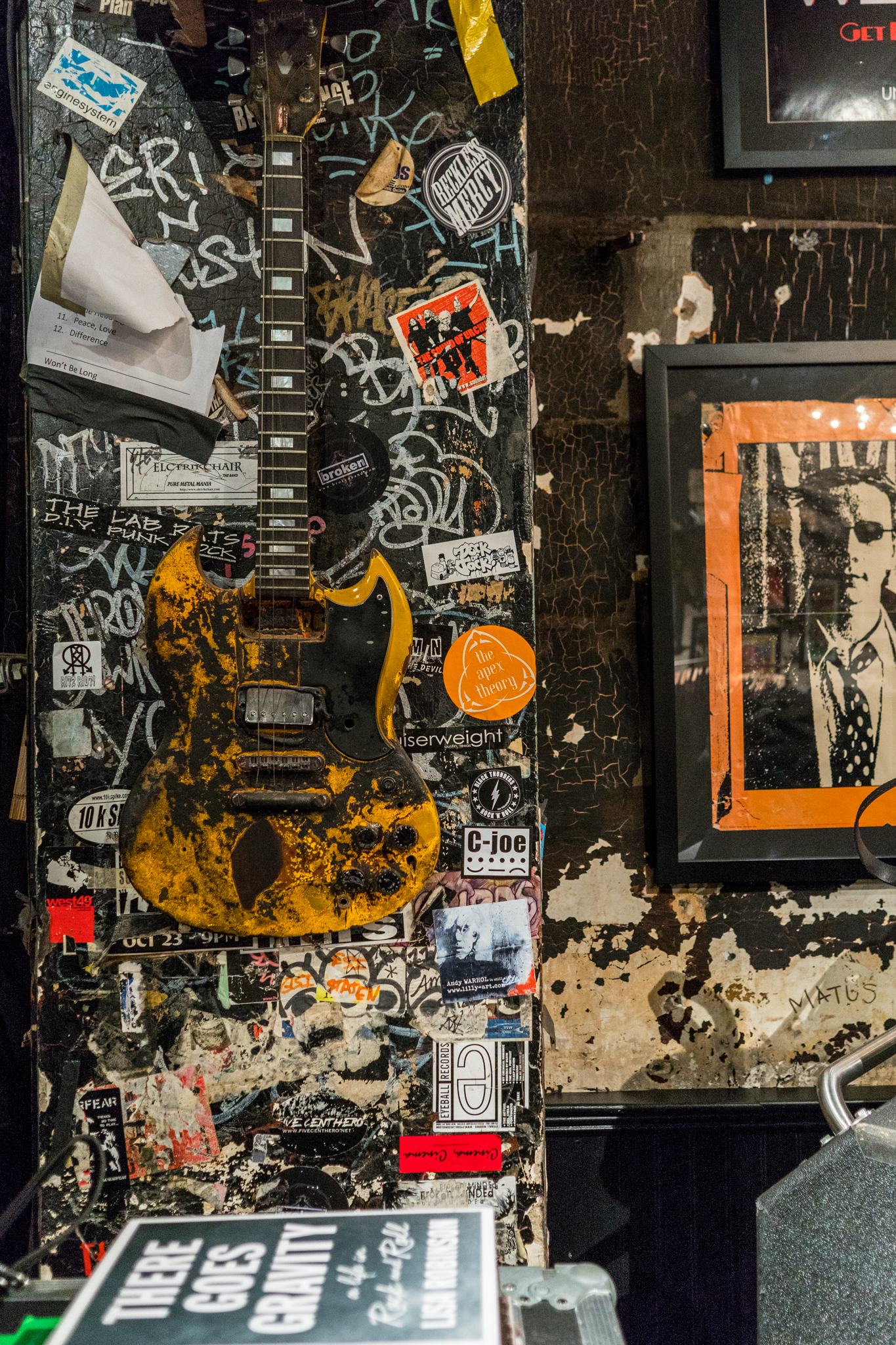 Relics of CBGB's on the wall of John Varvatos.